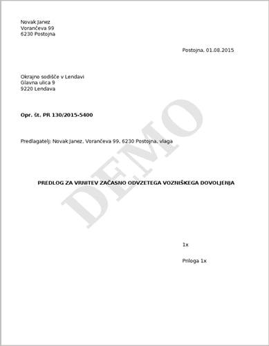 Predlog za vrnitev začasno odvzetega vozniškega dovoljenja